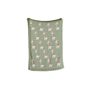 Creative Co-Op Green Cotton Knit Giraffe Blanket, , large