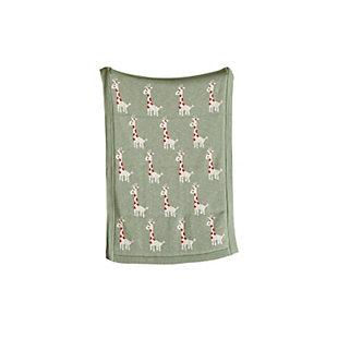 Green Cotton Knit Giraffe Blanket, , large