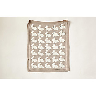 Gray Cotton Knit Rabbit Blanket, , rollover