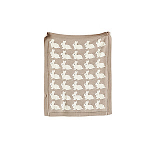 Creative Co-Op Gray Cotton Knit Rabbit Blanket, , large