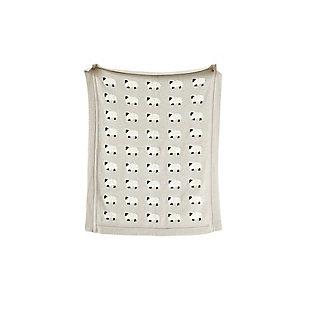 Gray Cotton Knit Sheep Blanket, , large