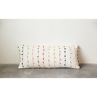 Creative Co-Op White Cotton Pillow with Multicolor Embroidered Loop Stripes, , rollover