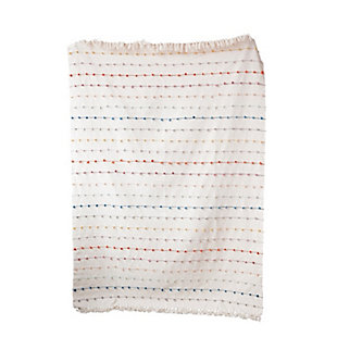 White Throw with Multicolor Embroidered Loop Stripes, , large