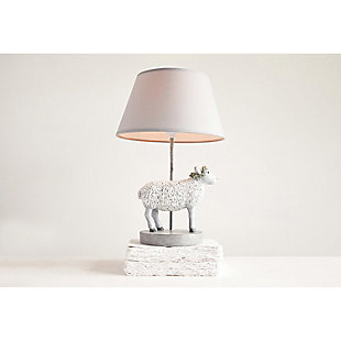 Creative Co-Op Resin Sheep Lamp with Linen Shade, , rollover