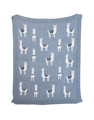 Gray Cotton Knit Llama Blanket, , large