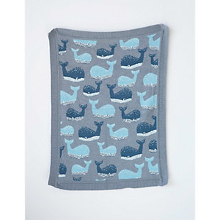 Blue Cotton Knit Whale Blanket, , rollover