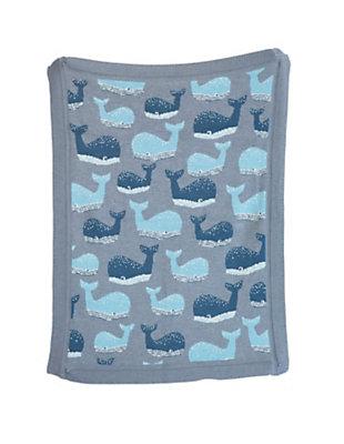Blue Cotton Knit Whale Blanket, , large