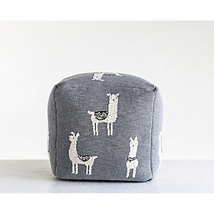 Gray Cotton Knit Pouf with White Llama Images, , rollover