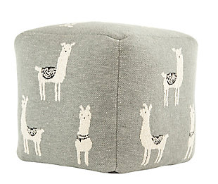 Gray Cotton Knit Pouf with White Llama Images, , large