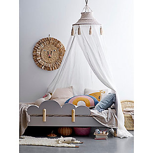 Creative Co-Op White Cotton Macrame Canopy with Tassels, , rollover