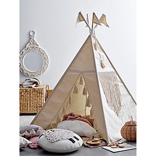 Natural Canvas and Metal Teepee with Tassels, , rollover