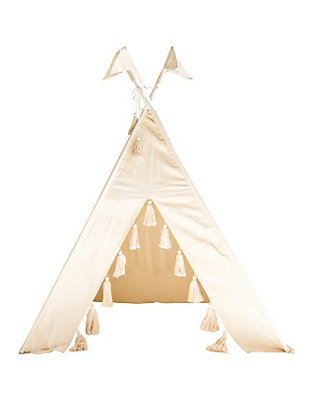 Natural Canvas and Metal Teepee with Tassels, , large