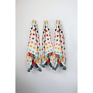 """60""""L x 50""""W Woven Cotton Throw with Tufted Dots and Tassels, , rollover"""