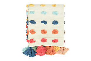 "60""L x 50""W Woven Cotton Throw with Tufted Dots and Tassels, , large"