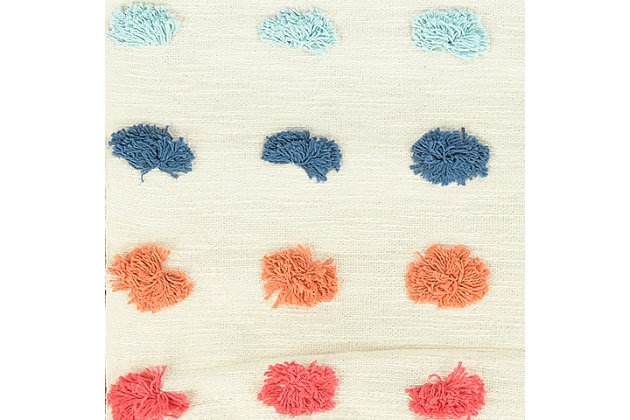 """60""""L x 50""""W Woven Cotton Throw with Tufted Dots and Tassels, , large"""