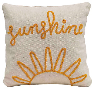 """Sunshine"" Embroidered Square Cotton Pillow, , large"