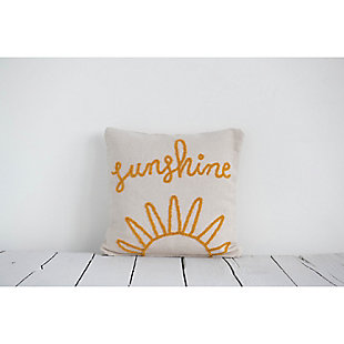"""""""Sunshine"""" Embroidered Square Cotton Pillow, , large"""