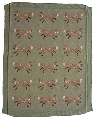 """40""""L x 32""""W Cotton Knit Baby Blanket with Fox, , large"""