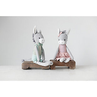 Creative Co-Op Cotton Knit Plush Donkey (Set of 2 Styles), , rollover