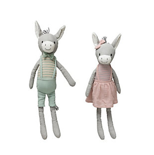 Creative Co-Op Cotton Knit Plush Donkey (Set of 2 Styles), , large