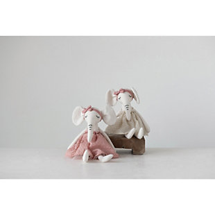 Cotton Blend Plush Elephant in Dress (Set of 2 Colors), , rollover