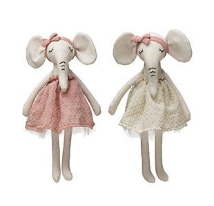 Cotton Blend Plush Elephant in Dress (Set of 2 Colors), , large