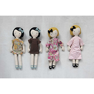 Plush Fabric Girl Doll with Reversible Dress (Set of 2 Styles), , rollover