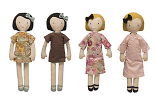 Plush Fabric Girl Doll with Reversible Dress (Set of 2 Styles), , large