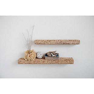 "29.5"" Handwoven Water Hyacinth Wall Shelf, , rollover"