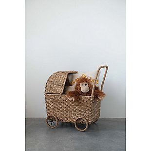 Handwoven Seagrass Doll Bassinet Stroller with Detachable Hood, , rollover