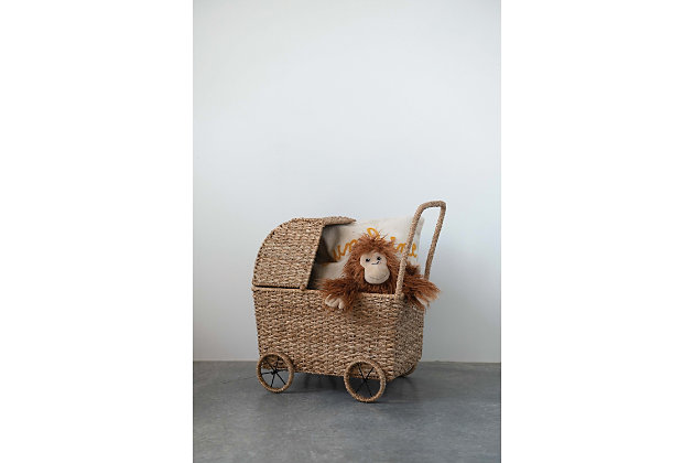 Handwoven Seagrass Doll Bassinet Stroller with Detachable Hood, , large