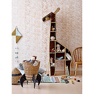 "58""H Giraffe-Shaped Handwoven Bankuan Shelving Unit with 10 Compartments and Metal Frame, , rollover"
