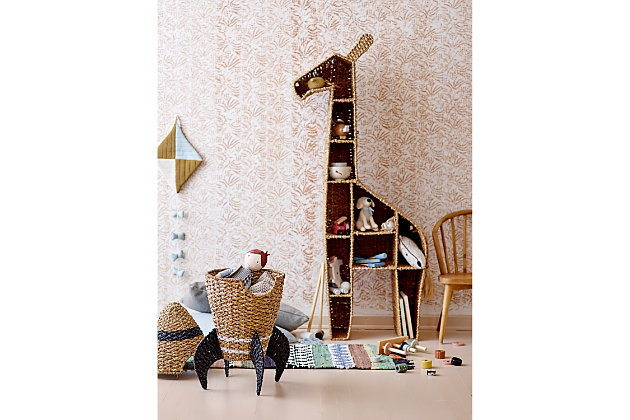 """58""""H Giraffe-Shaped Handwoven Bankuan Shelving Unit with 10 Compartments and Metal Frame, , large"""