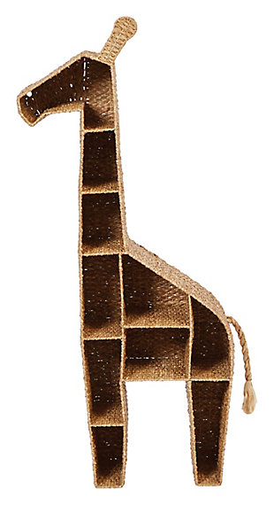 "58""H Giraffe-Shaped Handwoven Bankuan Shelving Unit with 10 Compartments and Metal Frame, , large"