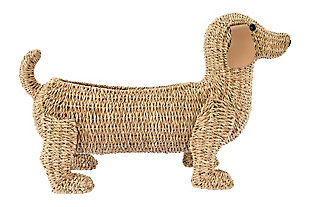 "26""L Handwoven Bankuan Dog-Shaped Basket with Leather Ears, , large"