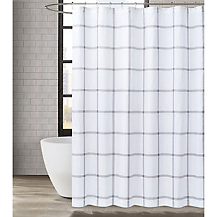 Truly Soft Truly Soft Printed Windowpane 72x72 Shower Curtain, White/Gray, rollover