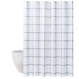 Truly Soft Truly Soft Printed Windowpane 72x72 Shower Curtain, White/Gray, large