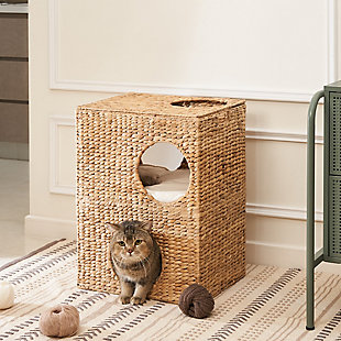 "Vifah Liliana 18"" Hand-woven Water Hyacinth 5-Hole Cat House with Cushions, , rollover"