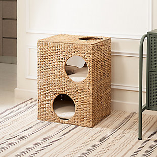 "Vifah Liliana 18"" Hand-woven Water Hyacinth 5-Hole Cat House with Cushions, , large"