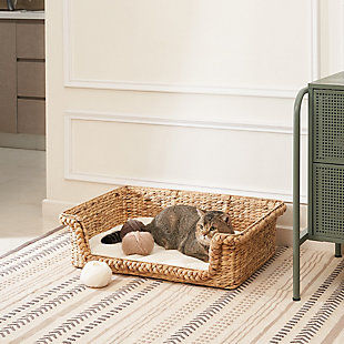 "Vifah Kylie 31"" Hand-woven Water Hyacinth Cat House Set  with Cushion- Size Medium and Large, , rollover"