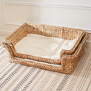 "Vifah Kylie 31"" Hand-woven Water Hyacinth Cat House Set  with Cushion- Size Medium and Large, , large"