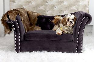 TOV Dachshund Gray Pet Bed, Gray, rollover