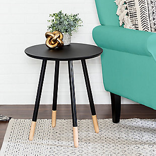 Honey-Can-Do Black Round End Table, , rollover