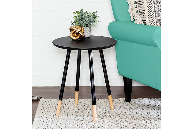 Honey-Can-Do Black Round End Table, , large