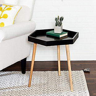 Honey-Can-Do Black Hexagon End Table, , rollover