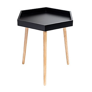 Honey-Can-Do Black Hexagon End Table, , large