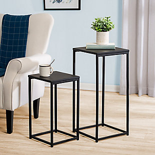 Honey-Can-Do Set Of 2 Square Black Side Tables, , rollover