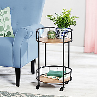 Honey-Can-Do 2-Tier Round Side Table with Wheels, , rollover