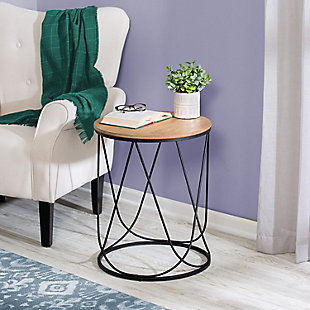 Honey-Can-Do Round Side Table with Natural Top, , rollover