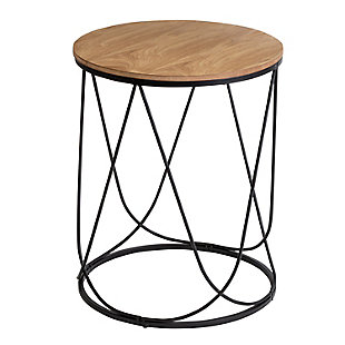 Honey-Can-Do Round Side Table with Natural Top, , large